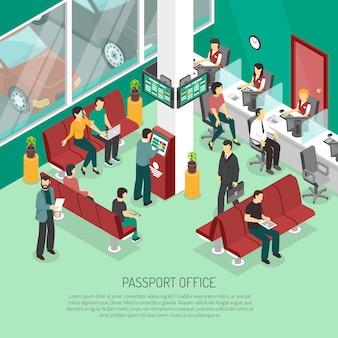 Isometrische illustration des passbüros