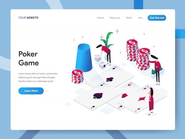 Isometrische illustration des pokerspiels für websiteseite