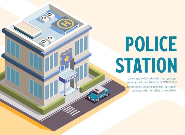 Isometrische illustration des polizeistationsgebäudes