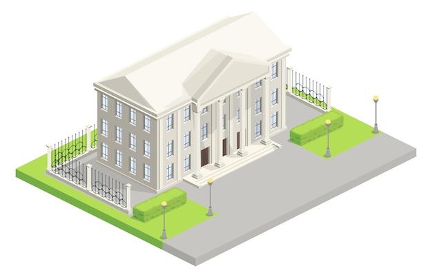 Isometrische illustration des rathaus-parlaments