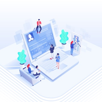 Isometrische illustration des rekrutierungsteams, 3d-zeichentrickfiguren von arbeitgebern und kandidaten, personalmanagement, personalabteilung, manager, die den lebenslauf studieren, rekrutierer mit lautsprecher. arbeitssuche