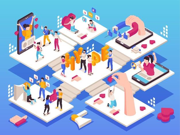 Isometrische illustration des social-media-hypes mit blogger-anhängern und symbolen von likes 3d