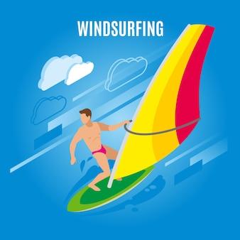 Isometrische illustration des surfens mit figur des männlichen charakters auf surfbrett mit segel- und wolkenbildern