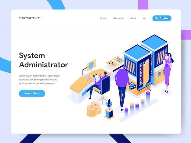 Isometrische illustration des systemadministrators für die website-seite