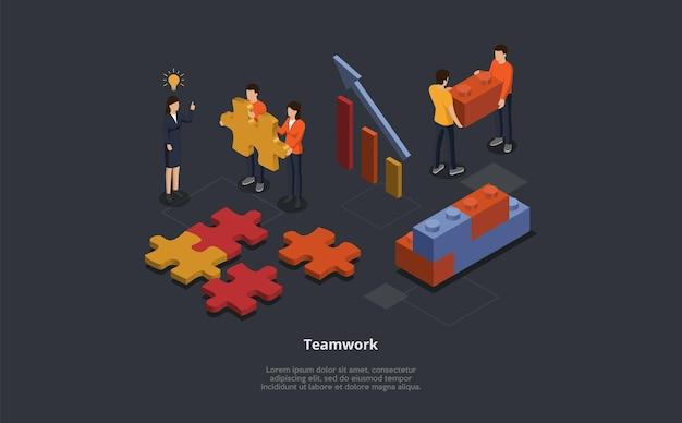 Isometrische illustration des teamwork-konzepts. vektorkomposition im 3d-stil der männlichen und weiblichen zeichentrickfiguren, die metaphorisches puzzle der geschäftszusammenarbeit tun