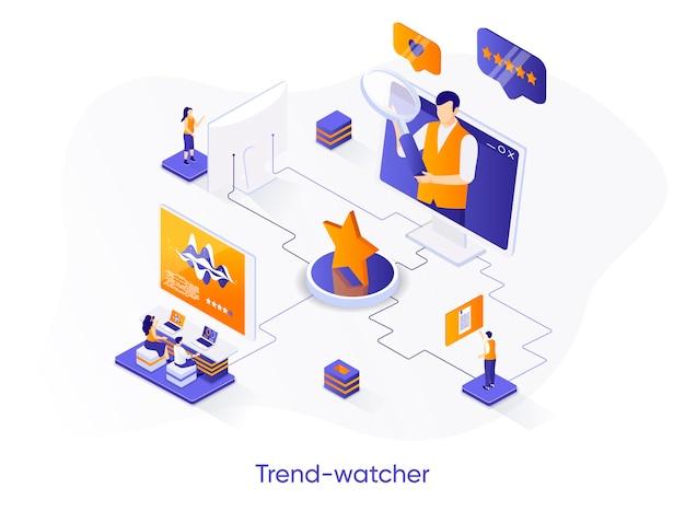 Isometrische illustration des trendwatchers mit personenzeichen