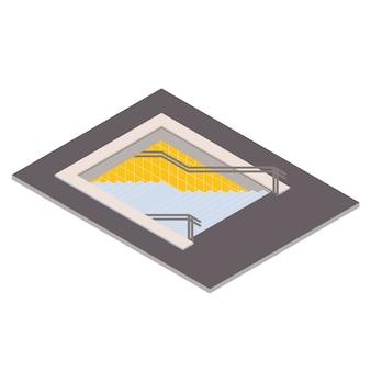 Isometrische illustration des untertagefußgängerübergangs. u-bahn 3d