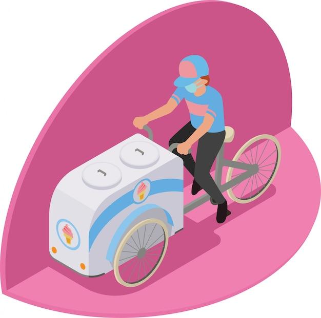 Isometrische illustration des verkäufers auf eiswagen