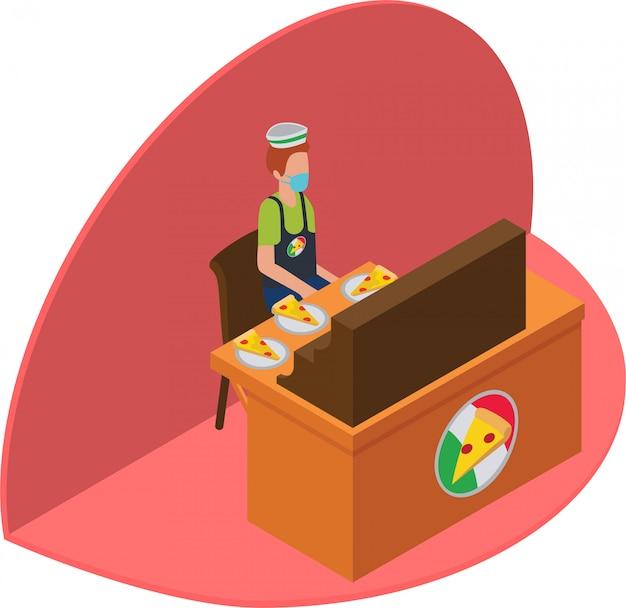 Isometrische illustration des verkäufers, der pizza verkauft
