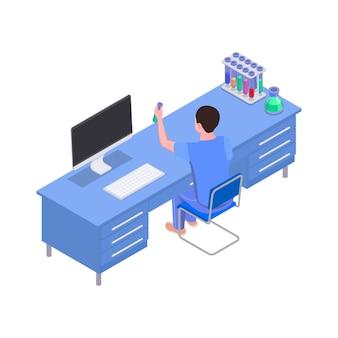 Isometrische illustration des wissenschaftslabors mit charakter an seinen arbeitsplatzflaschen und -röhren auf dem schreibtisch