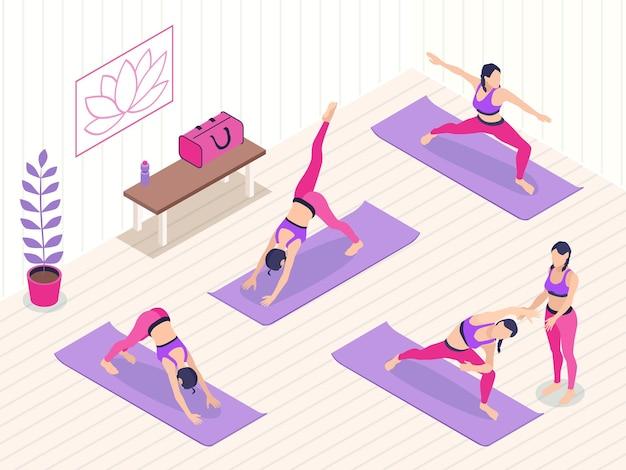 Isometrische illustration des yogastudios mit einer gruppe weiblicher charaktere, die übungen mit trainer machen