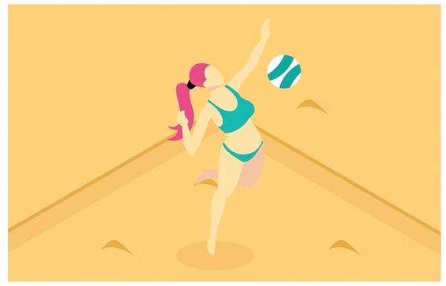 Isometrische illustration, die beachvolleyball spielt