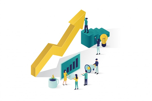 Isometrische illustration, die eine gruppe von personenencharaktere einen geschäftsprojektanfang vorbereiten. aufstieg der karriere zum erfolg, business-isometrie, business-analyse