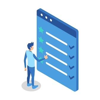 Isometrische illustration, die einen mann darstellt, der auf den bildschirm der website zur listenüberprüfung zeigt
