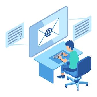 Isometrische illustration, die einen mann darstellt, der vor dem computerbildschirm sitzt, um e-mail zu senden