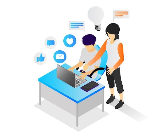 Isometrische illustration einer person, die ideen mit ihren mitarbeitern teilt