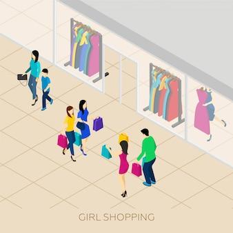 Isometrische illustration einkaufen