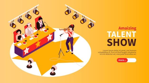 Isometrische illustration für das vorsprechen einer talentshow mit einem geigenspieler, der vor den richtern auftritt