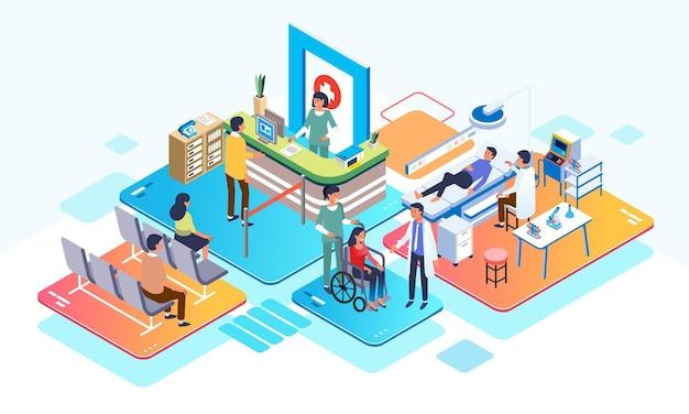 Isometrische illustration in einem krankenhaus leute registrieren sich und führen gesundheitschecks mit sanitätern durch