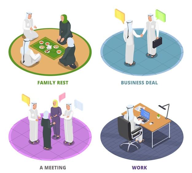Isometrische illustration mit arabern, die verschiedene aktivitäten ausführen