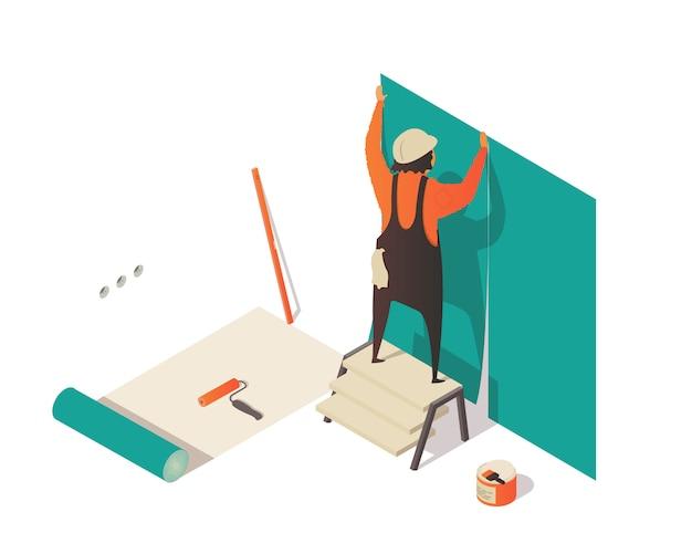 Isometrische illustration mit hängender tapete des mannes.