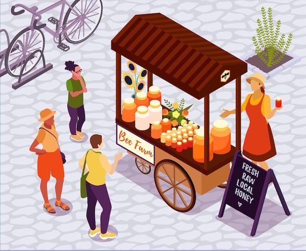 Isometrische illustration mit honiggeschäft auf lokalem bauernhofmarkt im freien