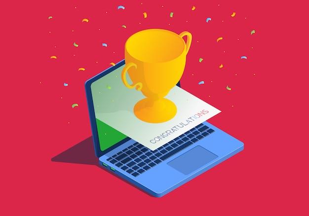 Isometrische illustration mit laptop und goldener tasse. online-belohnung. Premium Vektoren