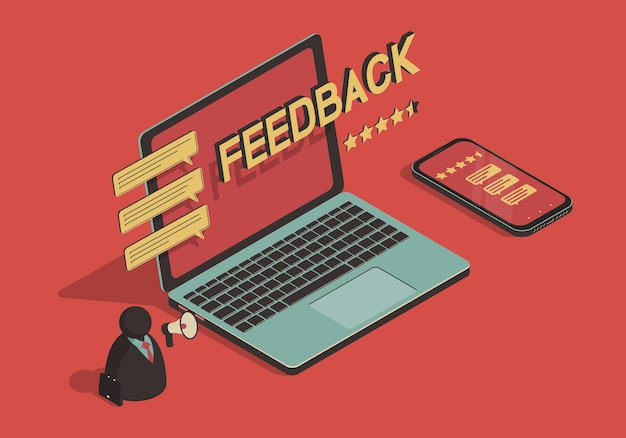 Isometrische illustration mit laptop und smartphone zum thema feedback