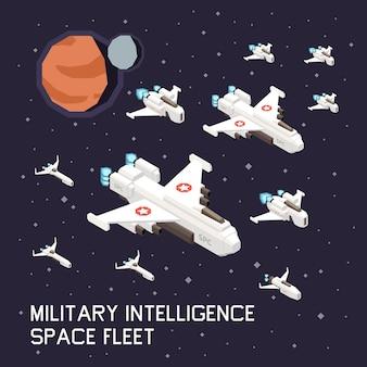 Isometrische illustration mit militärischen raumschiffen, die im weltraum fliegen
