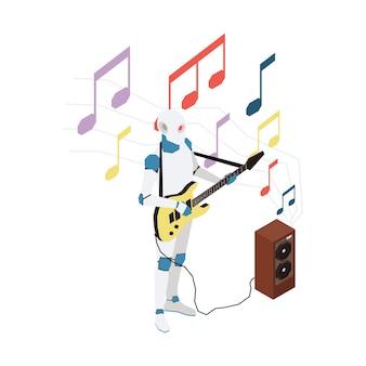 Isometrische illustration mit roboter, der gitarre spielt