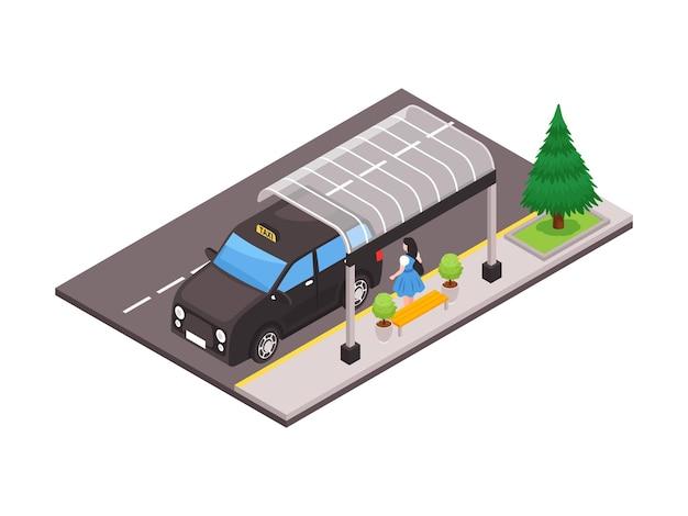 Isometrische illustration mit rückansicht der frau am stadtbushäuschen und schwarzem taxiauto