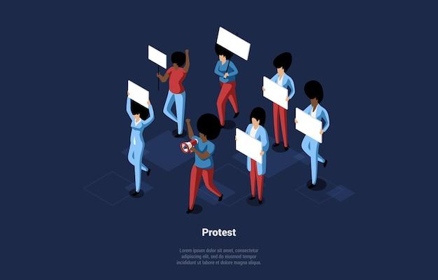 Isometrische illustration mit schriften auf dunkelblau. zusammensetzung der gruppe von menschen, die auf protest gehen