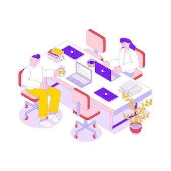 Isometrische illustration mit zwei geschäftsleuten, die im büro auf laptops 3d arbeiten