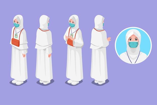 Isometrische illustration muslimischer frau hajj während der pandemie