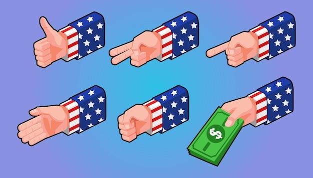 Isometrische illustration, satz gesten hände mit amerikanischer flagge