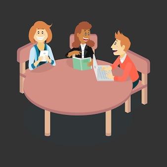 Isometrische Illustration über Studenten in der Diskussionsaktivität