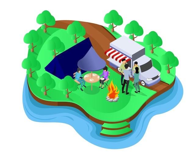Isometrische illustration über eine familie, die camping für ihren urlaub wählt