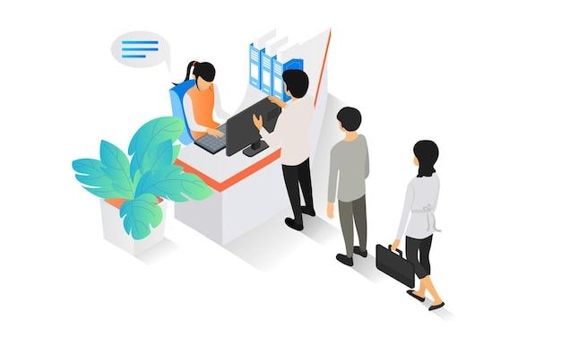 Isometrische illustration über einen kassentisch mit einem angestellten und menschen, die in der schlange warten