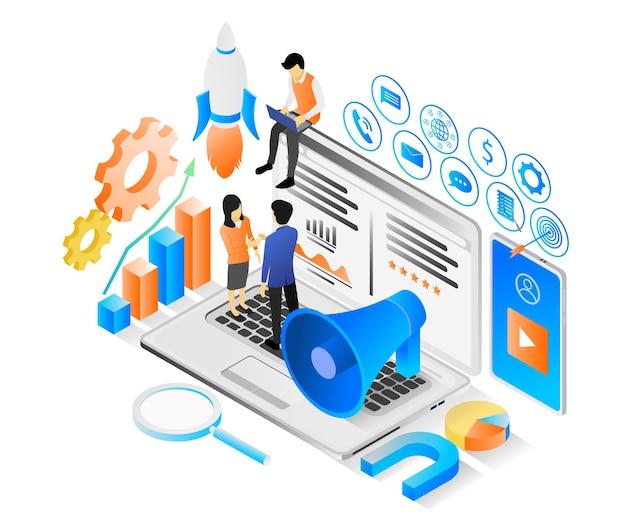 Isometrische illustration über marketingstrategie mit trichter und charakter oder laptop