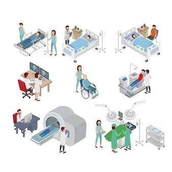 Isometrische illustration von doktor und von patienten auf krankenhaus