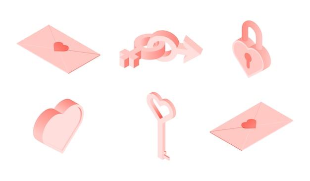 Isometrische illustration von liebessymbolen und -zeichen für datierungsanwendungsdesign.