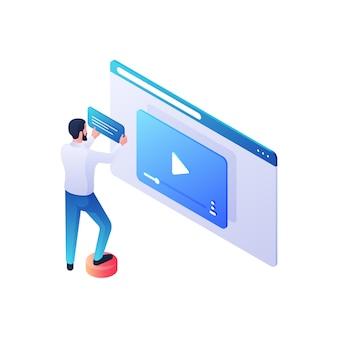 Isometrische illustration zur überprüfung von webvideoinhalten. die männliche figur fügt dem neuen videoclip eine beschreibung und handlung hinzu. moderne online-bewertungen und einfluss des publikums auf das views-konzept.