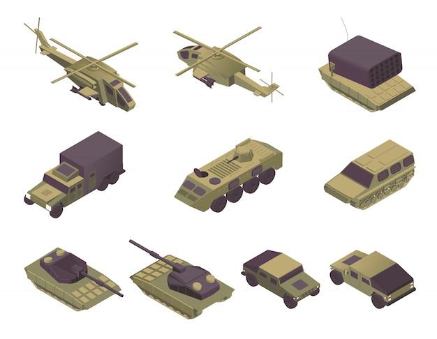 Isometrische illustrationen der militärfahrzeuge eingestellt. moderner armeetransport