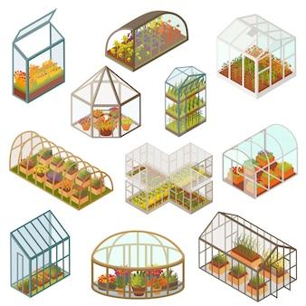 Isometrische illustrationen des gewächshauses, wachsende pflanzen und blumen im bauerngarten, isoliertes symbol 3d lokalisiert auf weiß