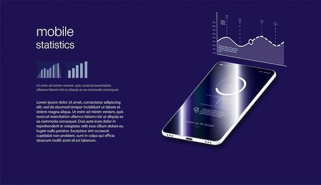 Isometrische illustrationen designkonzept mobile technologielösung auf der oberseite vektorillustration isometrischer stil. mock-ups konzept der mobilen anwendung isometrisches flaches design.