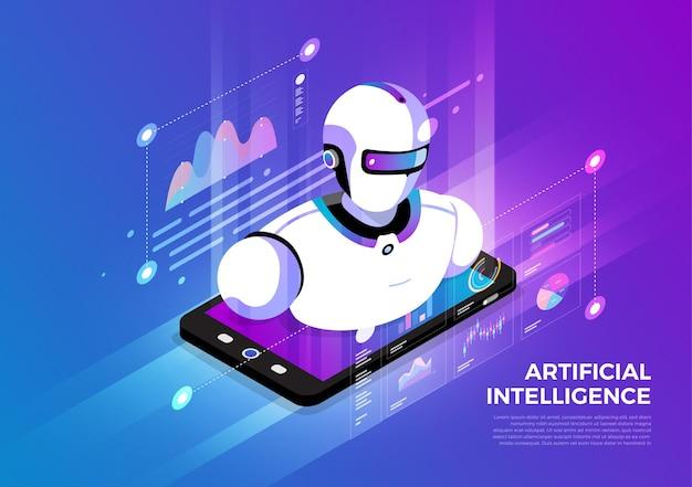 Isometrische illustrationen entwerfen konzept der mobilen technologielösung an der spitze mit künstlicher intelligenz