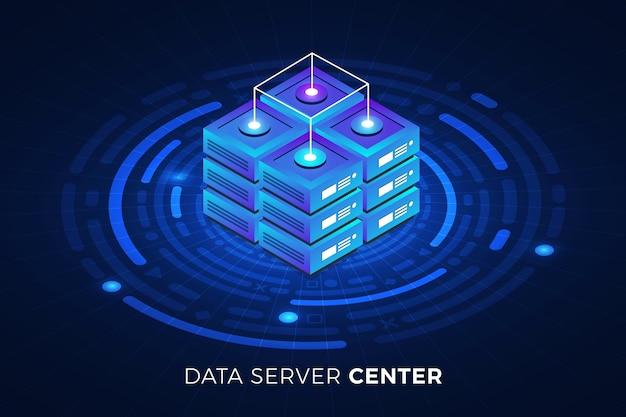 Isometrische illustrationen entwerfen konzepttechnologielösung an der spitze mit big-data-server