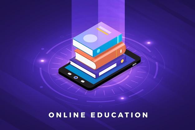 Isometrische illustrationen entwerfen konzepttechnologielösung mit e-learning