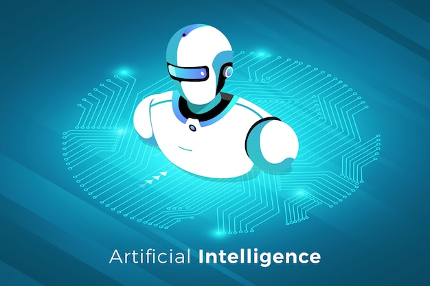 Isometrische illustrationen entwerfen konzepttechnologielösung mit künstlicher intelligenz
