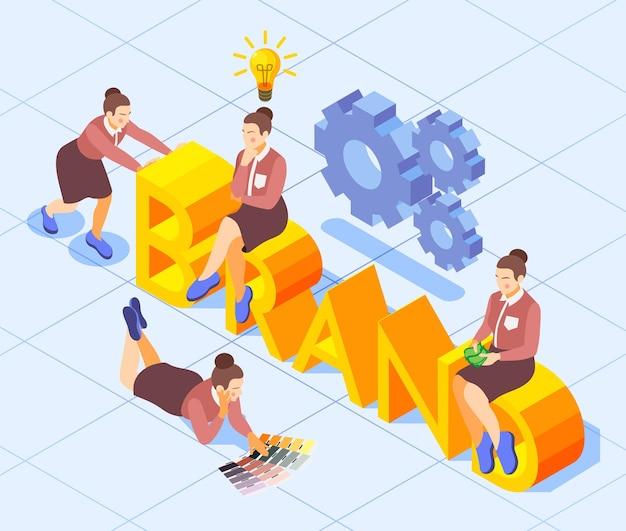 Isometrische illustrationszusammensetzung der markenaufbau-3d-formulierung mit den symbolen für die zusammenarbeit der kreativität des weiblichen marketingteams